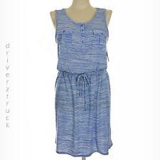 SONOMA Women's X-LARGE Space-Dyed WHITE & BLUE DRESS Sleeveless TIE Sash BELT