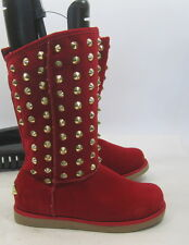 NEW LADIES Red Gold Spikes  Winter Sexy Mid-Calf Boot Inside Fur Size 10