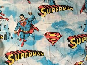 Superman Man of Steel Lot of 2 Twin Fitted Sheets Vintage 1978 Cutter Fabric USA