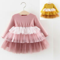Toddler Kids Baby Girl Ruffles Patchwork Princess Long Sleeve Tulle Dress Outfit
