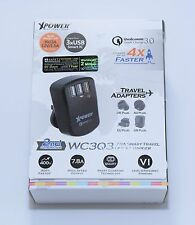 XPower 3Port 3.0USB Quick Travel Charger Wall Charger w/US/UK/EU Adapter Black