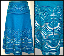MONSOON DEEP TURQUOISE SWINGY LINEN BLEND EMBROIDERED SKIRT UK 10