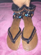 TOP MODA Cute Embellished  Open Toe zipper close Heel Sandal Shoes Size 8.5