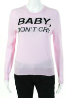 Nervure Womens Baby Don't Cry Crew Neck Sweater Pink Black Size Small