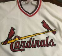 Rawlings Vintage St. Louis Cardinals Jersey Medium V Neck White 80's Ozzie Shirt