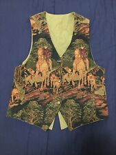 Vest Suit Knitted Picture With Horses & Horse Buttons Sz M Western Wear - V GOOD