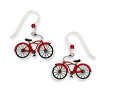 Sienna Sky RED BICYCLE EARRINGS Ladies Bike Sterling Vintage Dangle 1664 + Box
