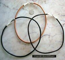 Heavy 4mm leather necklace cord thick leather in black brown natural m115 m126