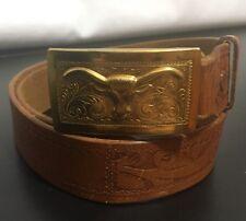 VTG TOOLED LEATHER BELT HAMLEY OREGON SZ 29 Oregon Bull Horn Gold Belt Buckle