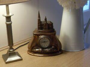 VINTAGE ART NOUVEAU  BRONZE EFFECT MANTLE ALARM CLOCK COLOGNE CATHEDRAL W/O