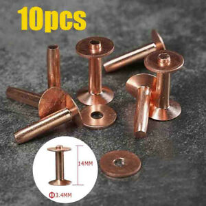 10X Solid Copper Rivets Burrs Fasteners Permanent Leather Saddlery Tack Repair