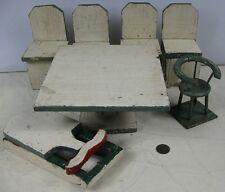 Antique Primitive Folk Art Green & White Doll Table & Chairs  Sleigh Set