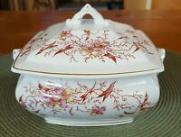 "Antique Warranted Stone China / Ironstone Large Floral Sugar Bowl 6 1/2"" Wide"