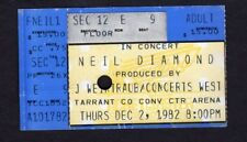 Original 1982 Neil Diamond concert ticket stub Fort Worth TX Heartlight