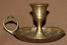 Small vintage brass candle holder with tray