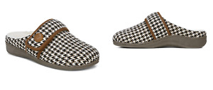 NEW   Vionic Women's Carlin Houndstooth Cream Slippers/Footwear   SIZE: 11