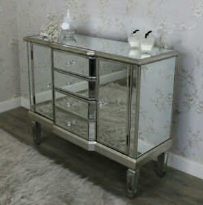 Mirrored Sideboard 2 Doors 4 Drawers Silver Storage Cabinet Side Cupboard Unit