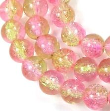 8mm Czech Glass Crackle Cracked Round Beads - Peridot / Pink (50) 16""