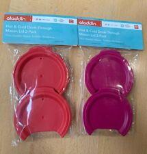 2 Aladdin Hot Cold Drink Through Mason Lid 2 Pack Red & Purple 16 oz NEW