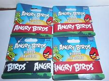 LOT OF 4 ANGRY BIRDS RUBBER BRACELETS. 1 BLACK, 3 RED