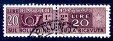 PACCHI POSTALI - 20 Lire filigrana stelle II 65° dx