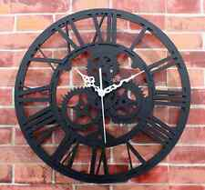 Modern Home Decor Wall Clock Large Round Metal Color Vintage Steampunk Skeleton