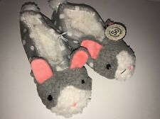 SO Women's Critter Face Ballerina Slippers GREY BUNNY Size M(7-8) NEW Tags Warm