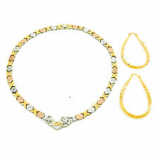 "Womens 3 Tone Hugs & Kisses I love You Necklace Bracelet Hoop Earrings Set 20"""