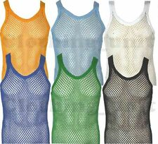 Mens String Cotton Vest Mesh Net  Holiday Summer S M L XL