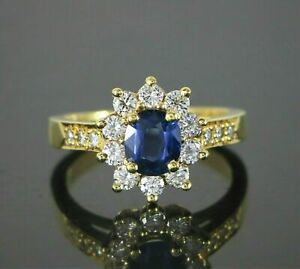 2.20 Ct Cushion Sapphire Diamond Engagement Ring 14K Real Yellow Gold Size M N
