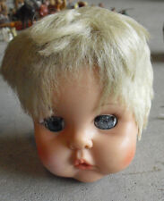 "Vintage 1960s Eegee 18 U2 Vinyl Blonde Girl  Doll Head Sleepy Eyes 4 1/2"" Tall"