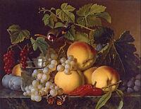 Oil Christiaen van Pol Dutch Still life of peaches grapes, plums, peppers canvas