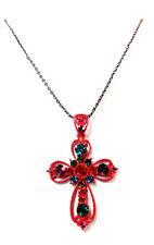 Señoras impresionante Negro / Rojo Brillante Multi Piedra único Collar De Cruz (St40)