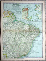 Eastern South America - Original 1897 Map by The Century Company. Antique
