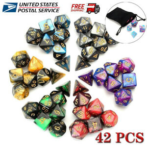 42pcs/Set 7-die Polyhedral Dice For Dungeons & Dragons DND RPG D20 D12 Game Toy
