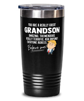 Funny Grandson Gift Trump Tumbler Mug Stainless Vacuum Insulated Black 20oz With