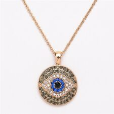 Evil Eye Necklace Hamsa Amulet Charm Rhinestone Crystal Pendant Gold Chain