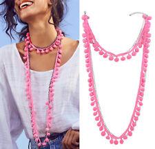 Bohemia Women Faux Fur Ball Pompom Long Chain Choker Collar Necklace Pendant UK