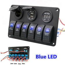 Waterproof 6 Gang LED Rocker Switch Panel Electrical Circuit Breaker Marine Boat
