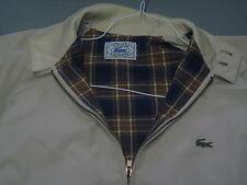 VTG Izod Lacoste Tan Plaid Lined Harrington Jacket Mens Medium