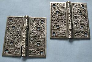 ANTIQUE PAIR SOLID CAST METAL DOOR HINGES EASTLAKE DESIGN CA1880 '5x5 B55'