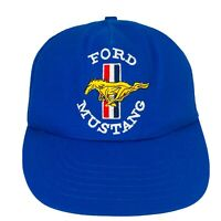 VINTAGE Ford Mustang Embroidered Blue Mesh Snapback Hat USA Made Trucker Cap