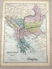1891 Antique Map of Turkey Serbia Montenegro Romania 19th Century Original
