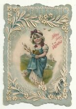 Happy Days Valentine Card Die Cut Embossed Antique Girl Blue Dress Butterfly