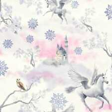 MAGICAL HORSES LILAC FANTASY FAIRYTALE CASTLE QUALITY ARTHOUSE WALLPAPER 667801