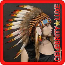 New 55cm Native Indian Chief Orange Feather Headdress Fancy Dress Costume