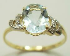 NICE 10KT YELLOW GOLD AQUAMARINE & DIAMOND RING SIZE 7    R1412
