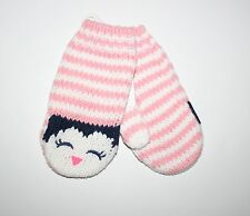 New Gymboree Girls Striped Penguin Face Mittens  2T 3T NWT Polar Pink Adorable