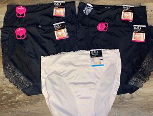 Bali ~ 5-Pair Women's Hi-Cut Underwear Panties Nylon Blend Lace Desire ~ M/6