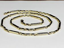 """14k solid Yellow gold (figaro pattern) LINK chain Necklace 20"""" 33 grams 3.5 MM"""